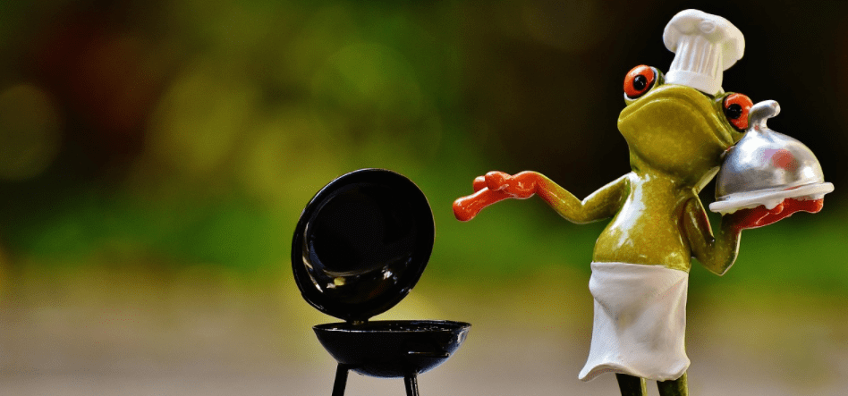 barbecue with frog figurine
