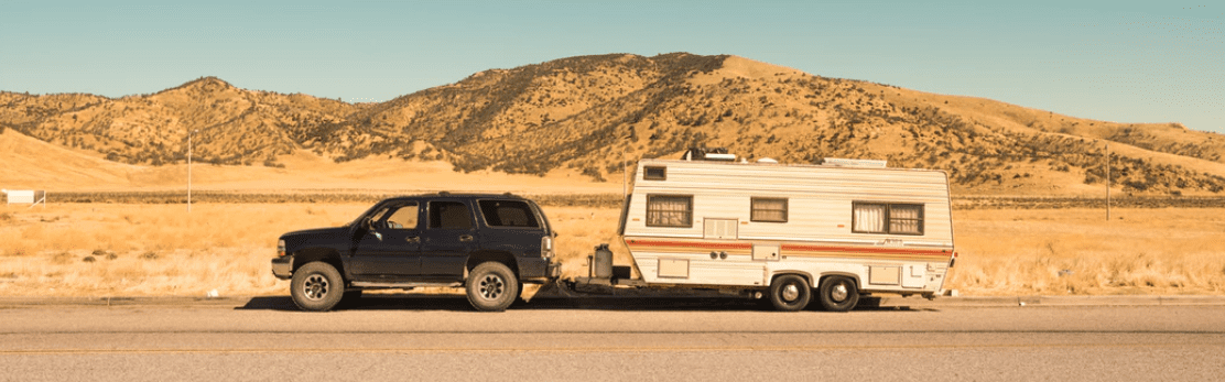 Travel Trailer towed by a truck