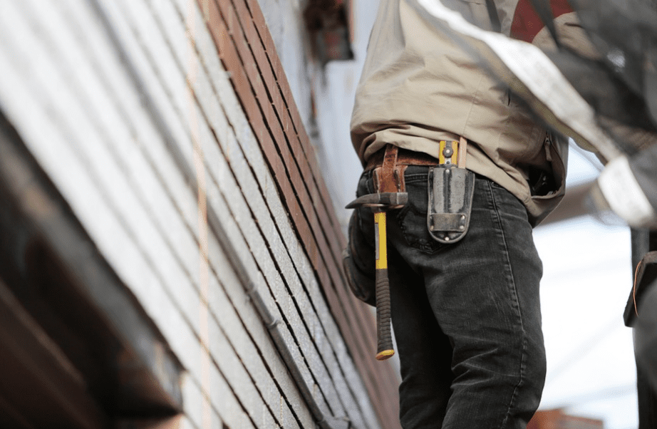 Contractor working with a tool belt
