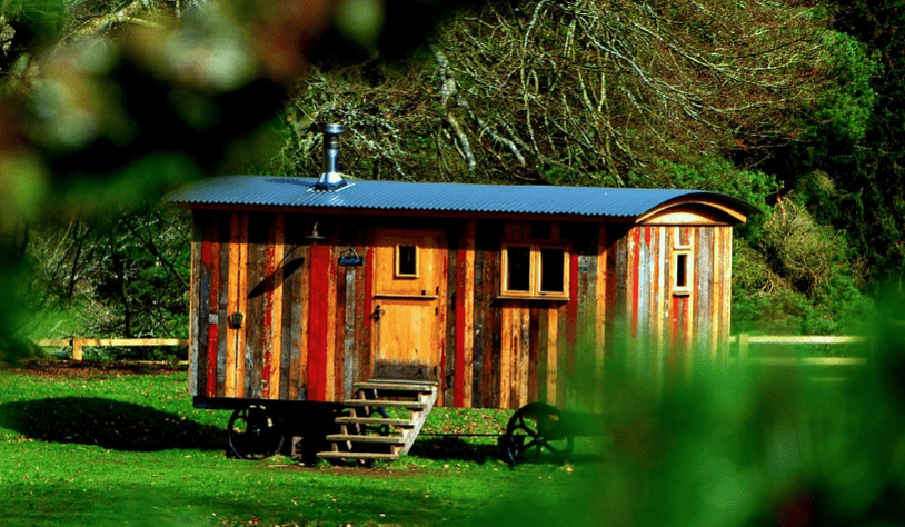 colorful small house on wheels