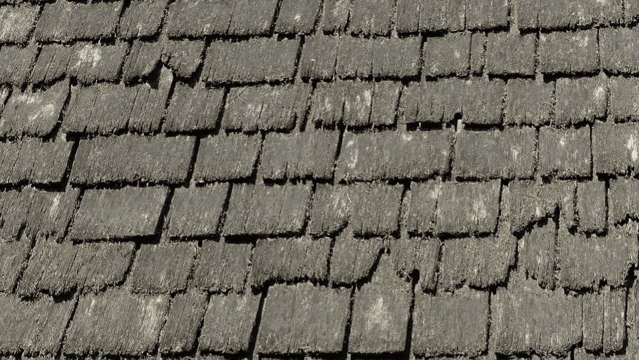 close up of an old shingle roof