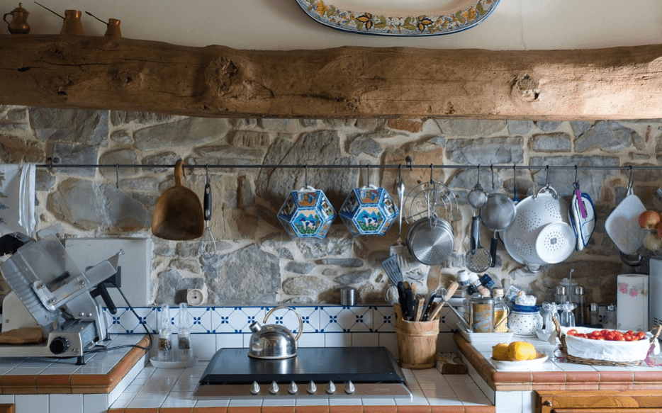 rustic kitchen theme with items hanging on hooks