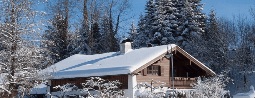 pitched roof with snow on it