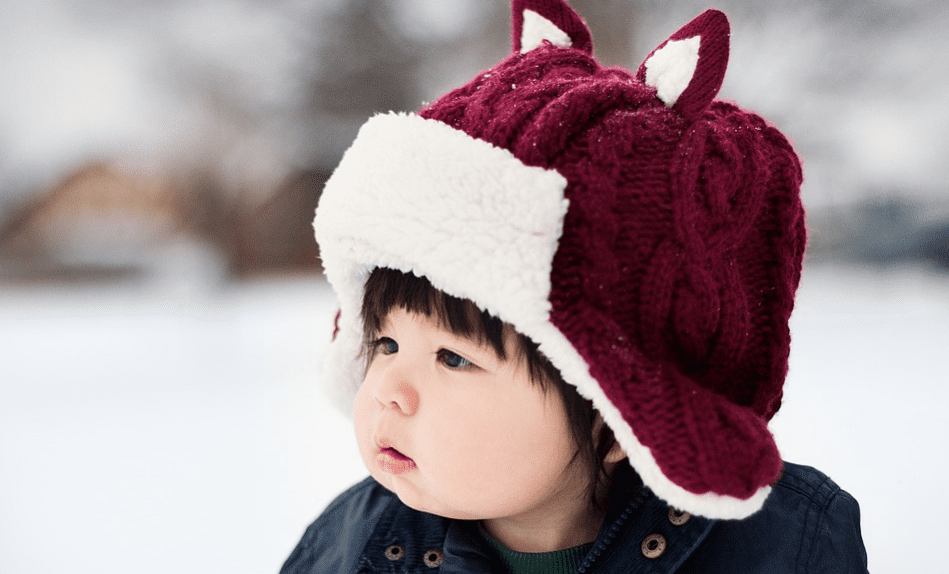 A baby wearing a winter hat