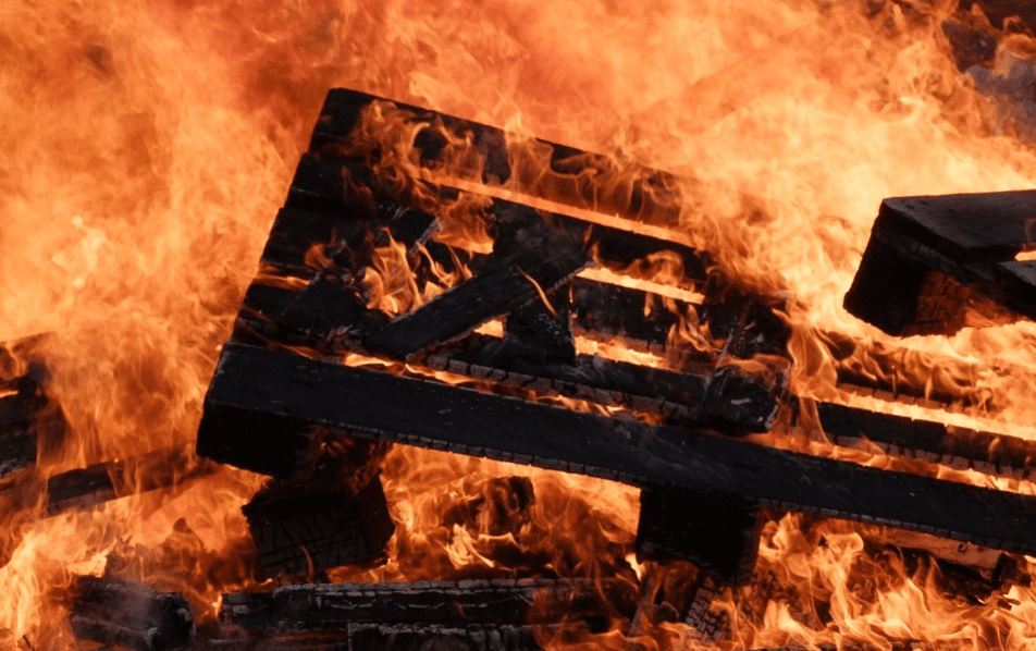 Wood palettes burning in fire