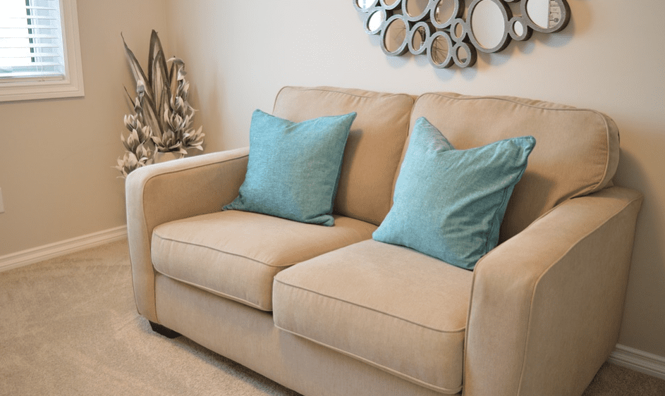 Love seat couch in living room