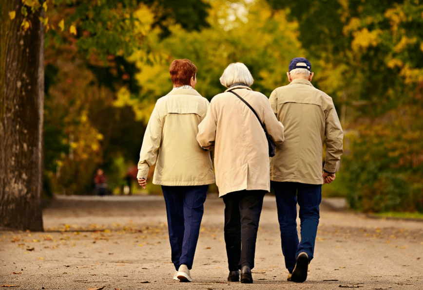 Three elderly people walking together