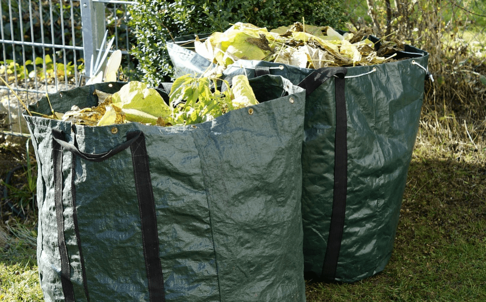 Leaves and grass waste in a paperbag