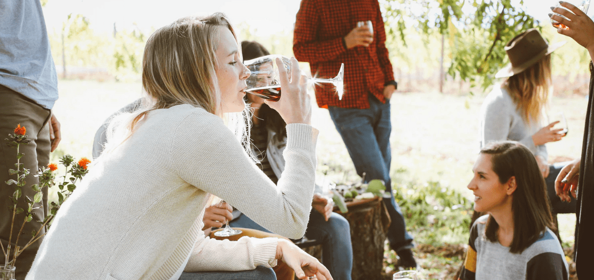 Group of friends drinking wine outdoors