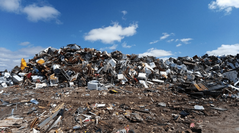 A scrapyard filled with metal junk and recyclables