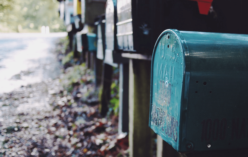 A row of local residential mailboxes