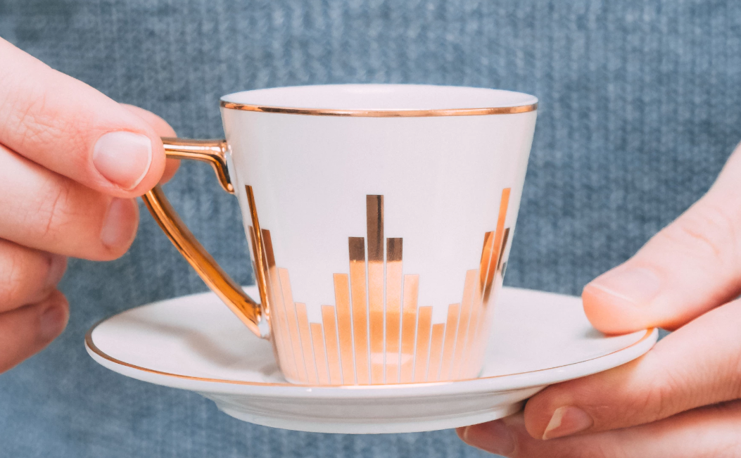 Art deco cup and saucer with gold detailing