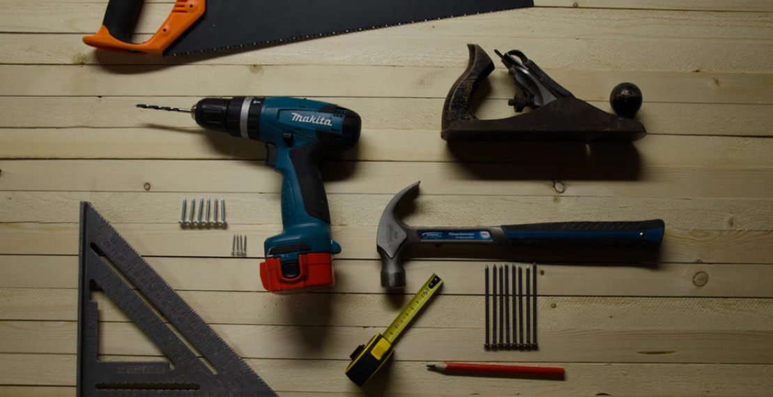 Miscellaneous tools laid out for project