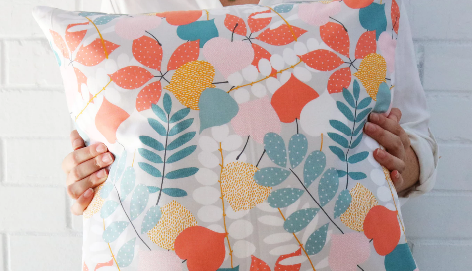 Bright floral patterns on pillow