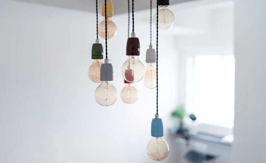 Lightbulbs hanging from the ceiling