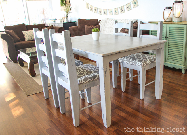 Distressed chalk painted dining table and chairs