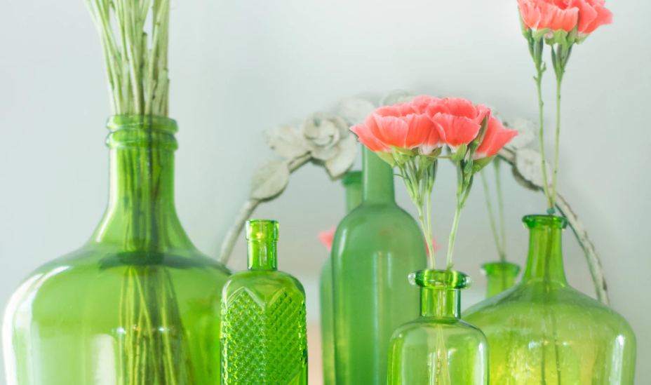 Antique lime green bottles and jars