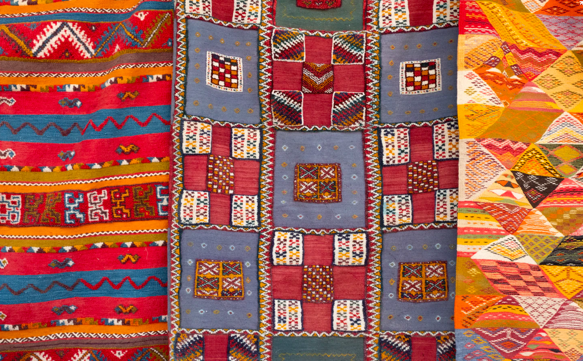 Various colorful quilts