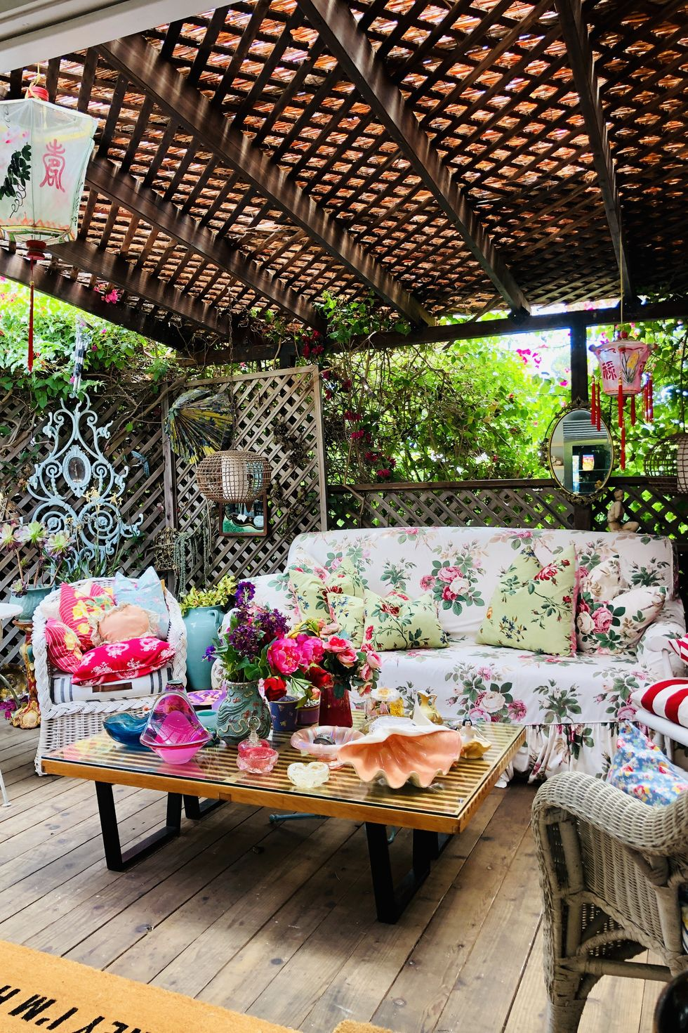 Colorful outdoor living room