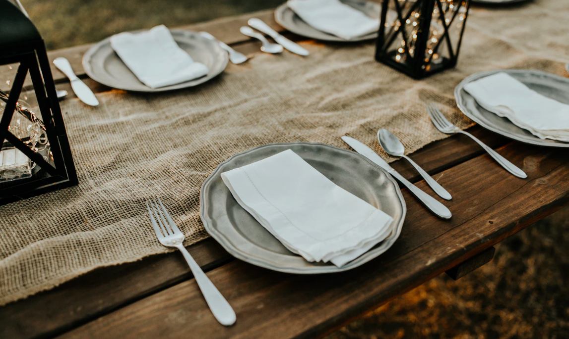 Set table outdoors