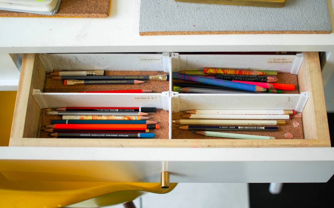 Colored pencils in the drawer