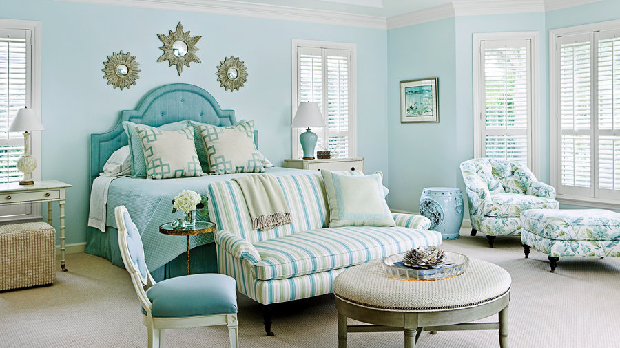 Seaglass blue master bedroom