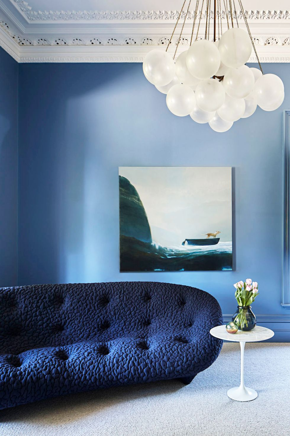 Blue themed living room