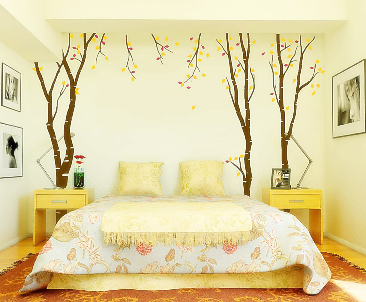 Yellow wall stickers in bedroom