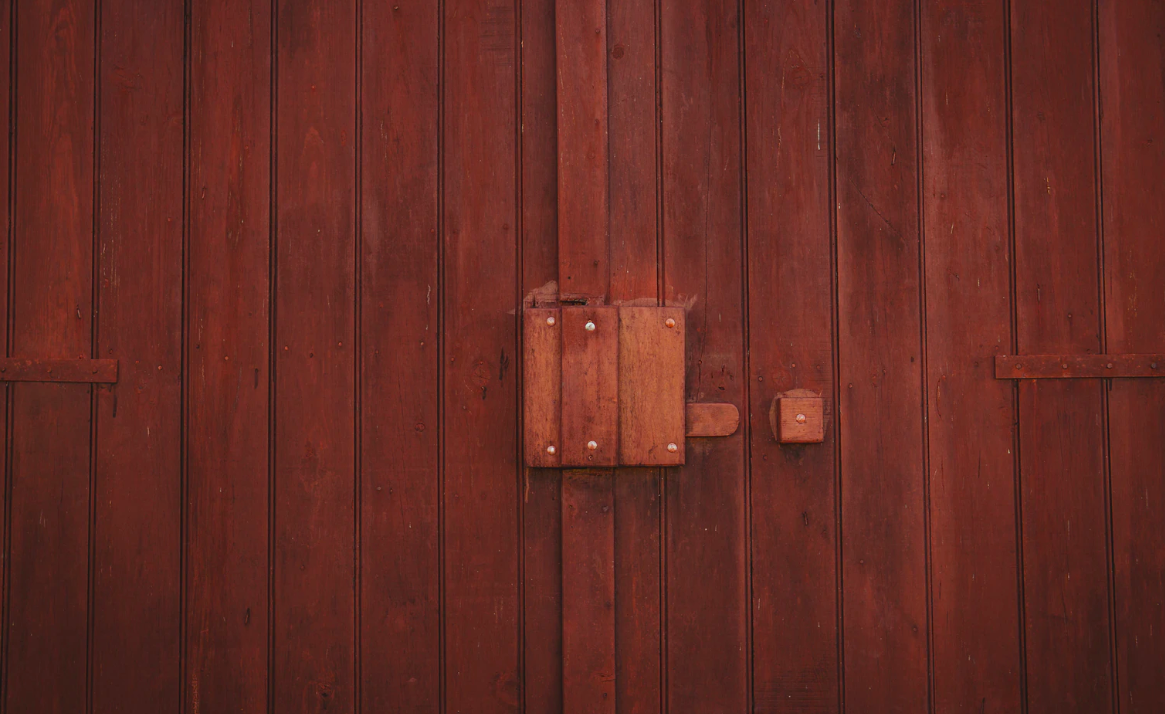 Wooden dark brown door
