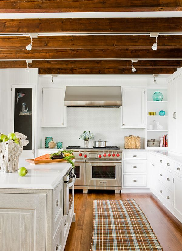 Kitchen wood ceiling beams