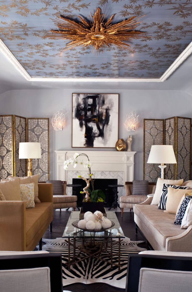 Statement ceiling with gold and blue