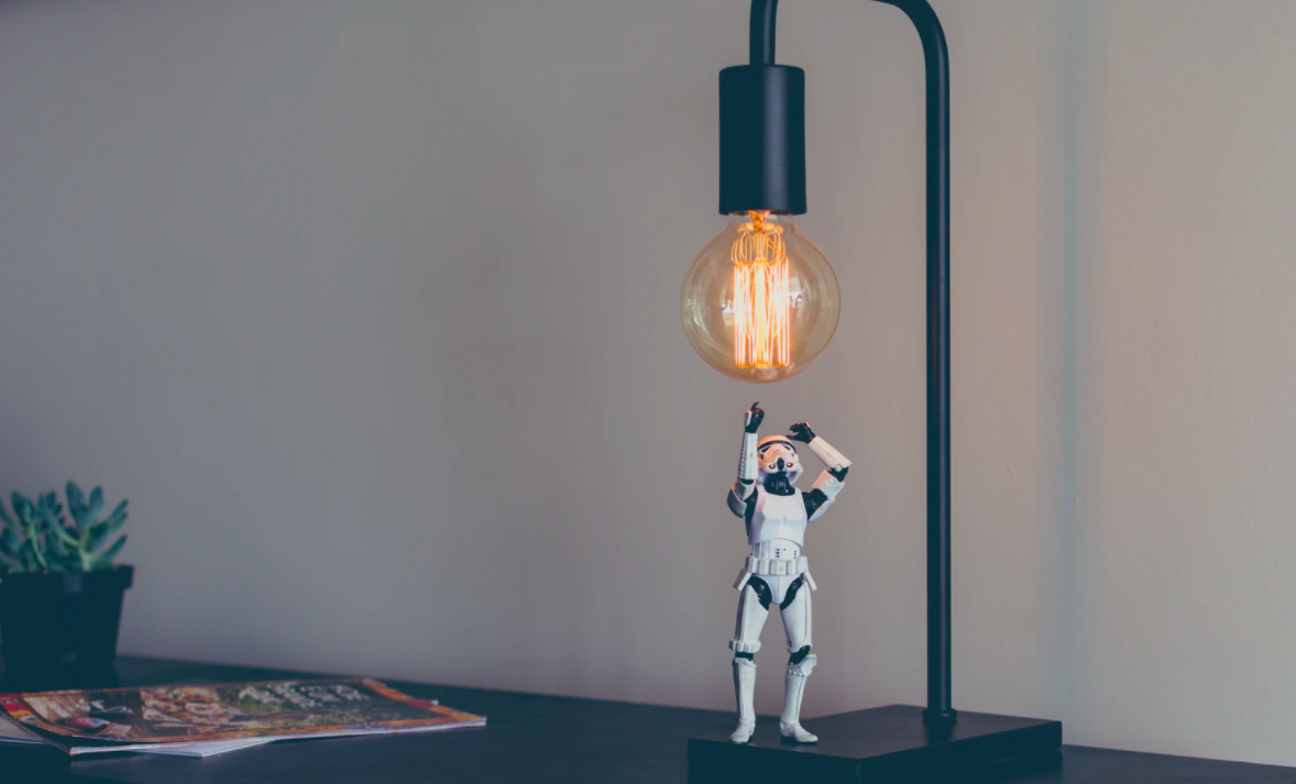 Stormtrooper toy character under light bulb
