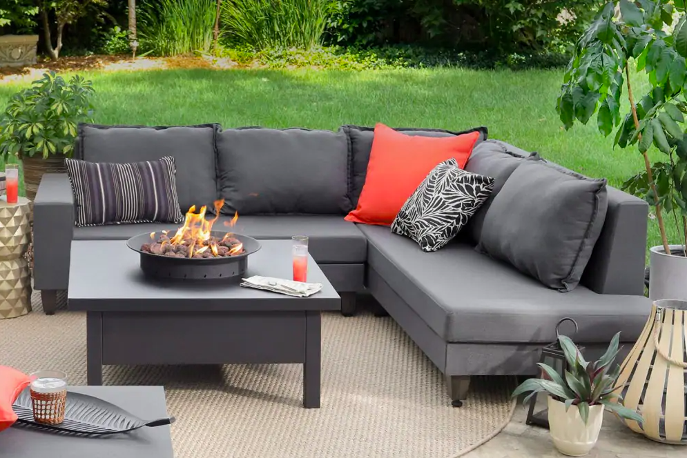 Sectional sofa with firepit outdoors