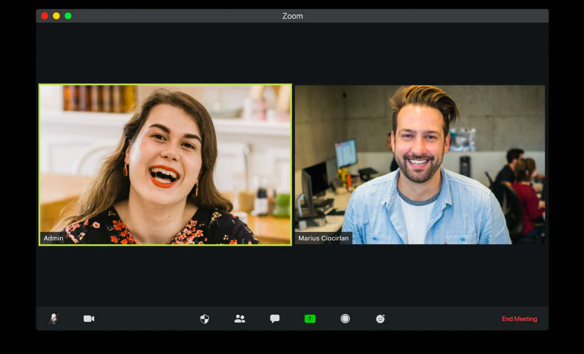 A woman and a man on a Zoom video call