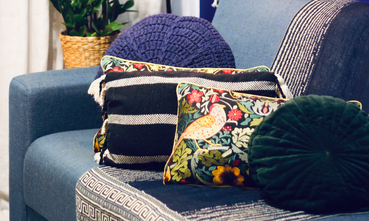 Different textures of cushions