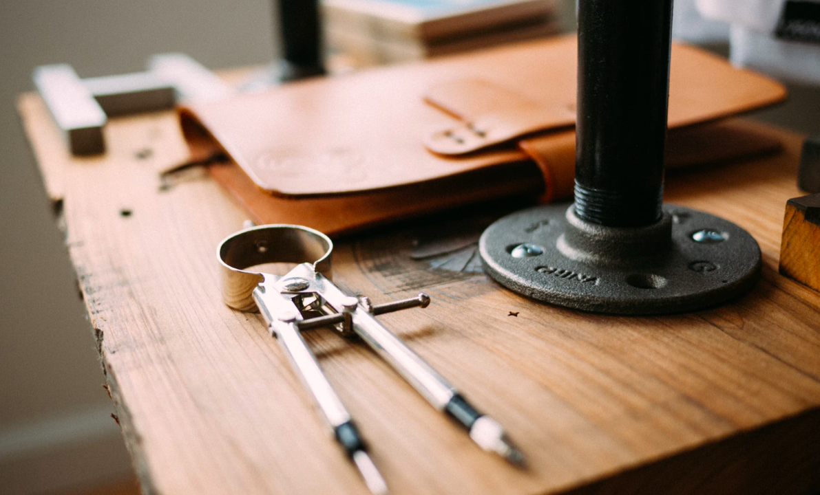 Workbench and leather book