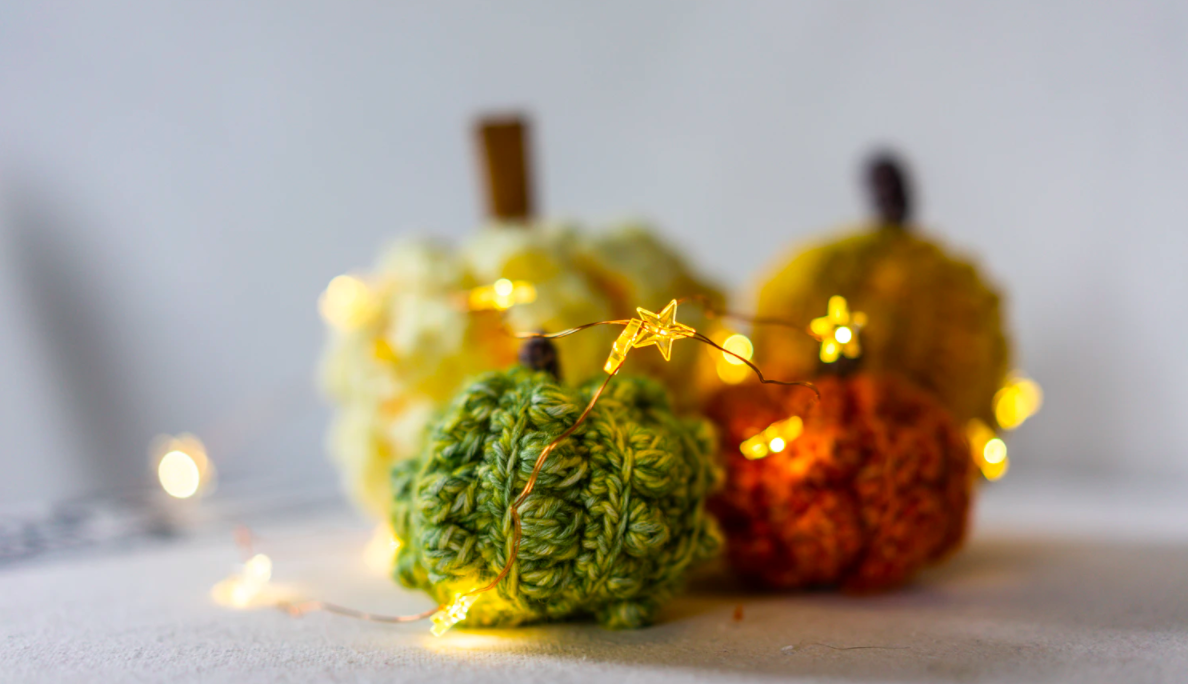 Fairy lights and crafted pumpkins