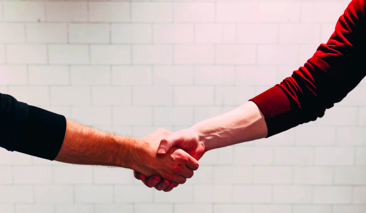 A handshake between two persons