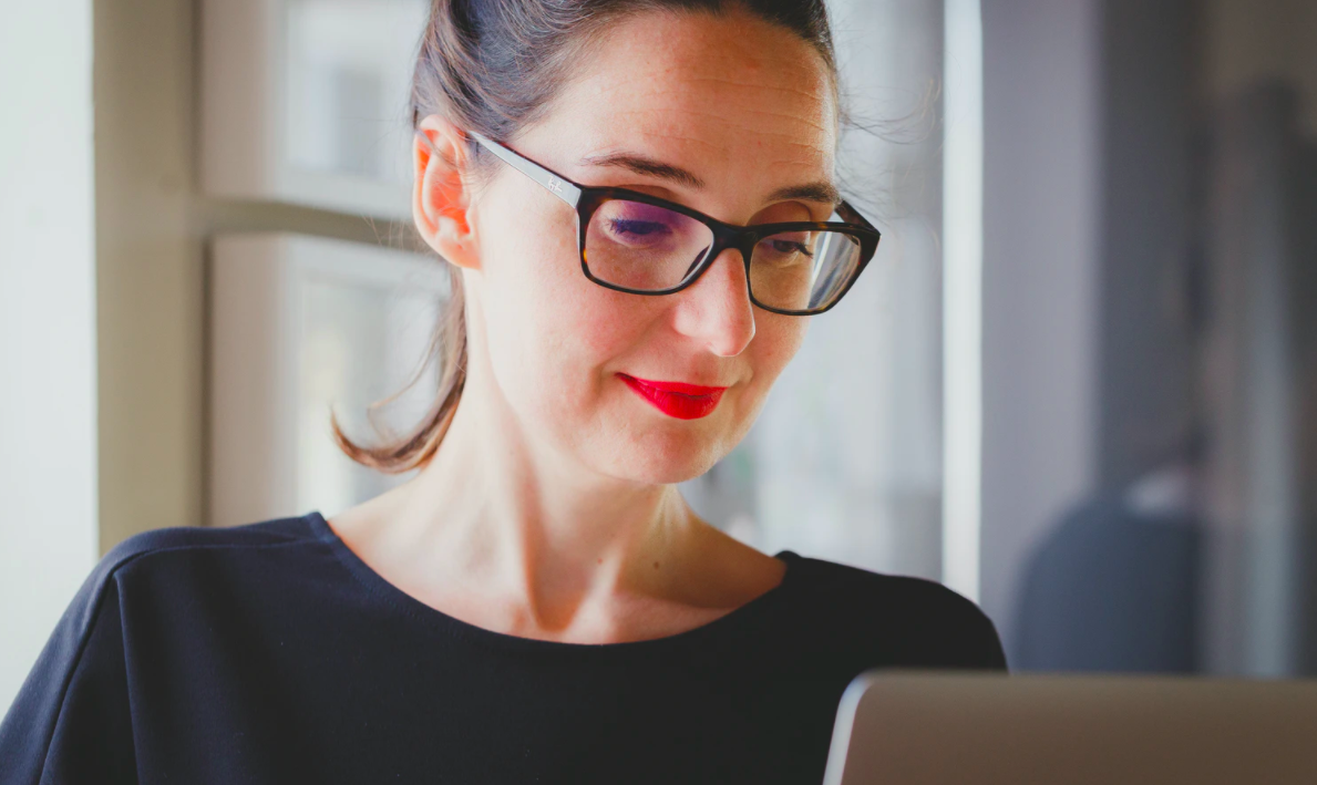 Women with glasses staying focused