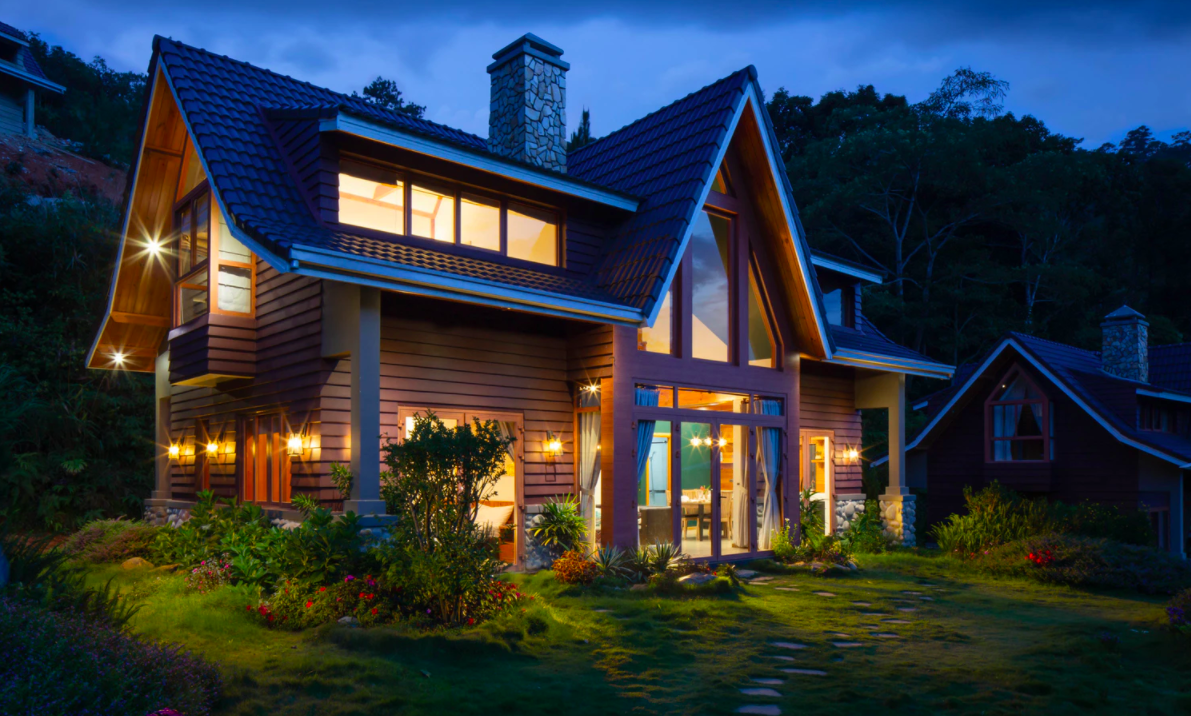 Wooden house at night