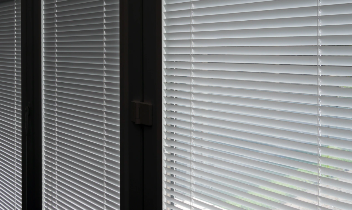 Clean white window blinds