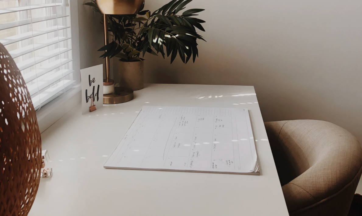 Filled calendar planner on a table