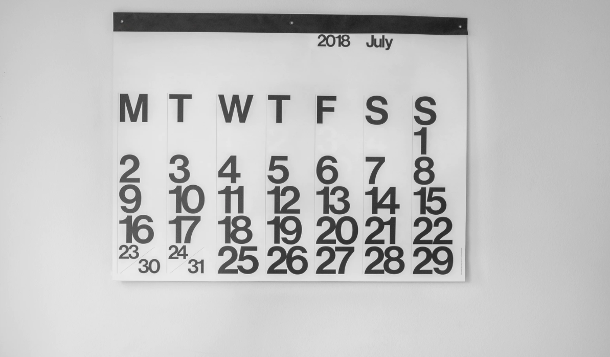 Paper calendar on the wall