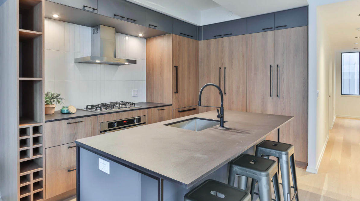 Wooden cabinets in a kitchen